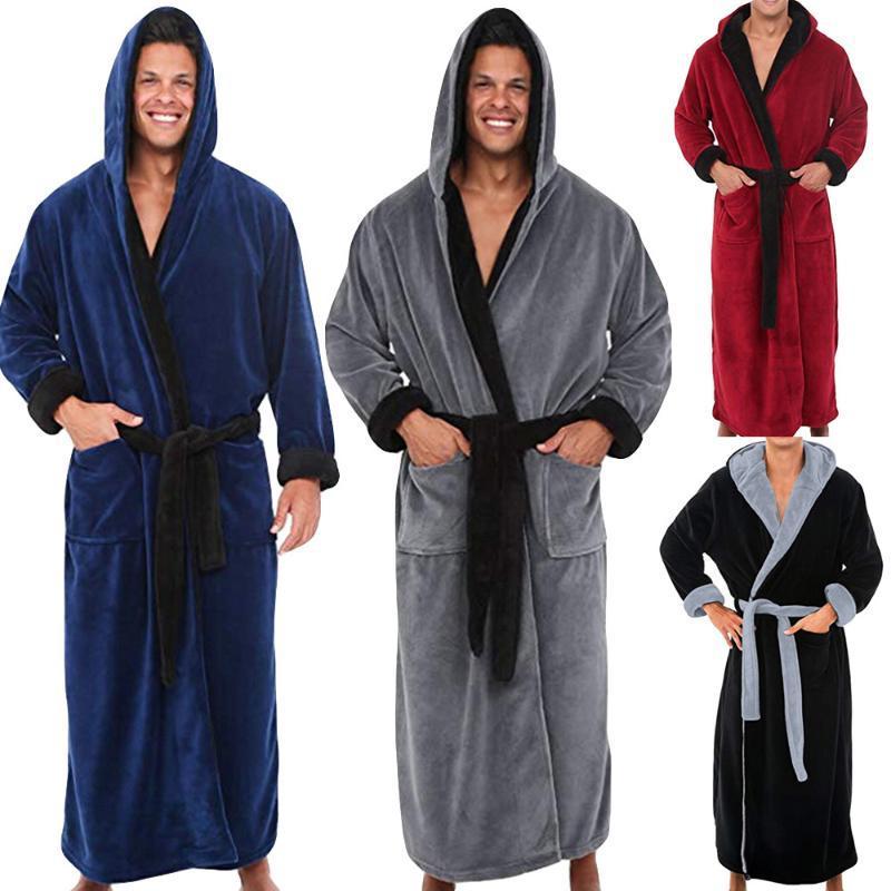 Men's Winter Lengthened Plush Shawl Bathrobe Home Clothes Long Sleeved Robe Coat 11.7