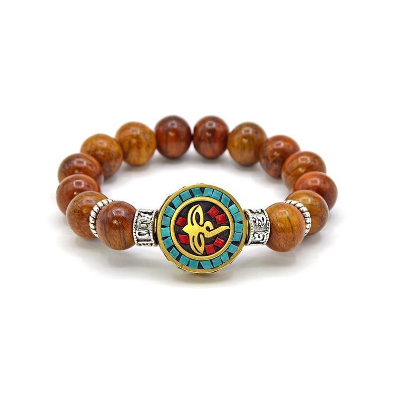 Vente en gros Tibet main naturelle Bracelet Yak os Rétro personnalité Bracelet style vintage Bronze Bouddha de incrustées des yeux