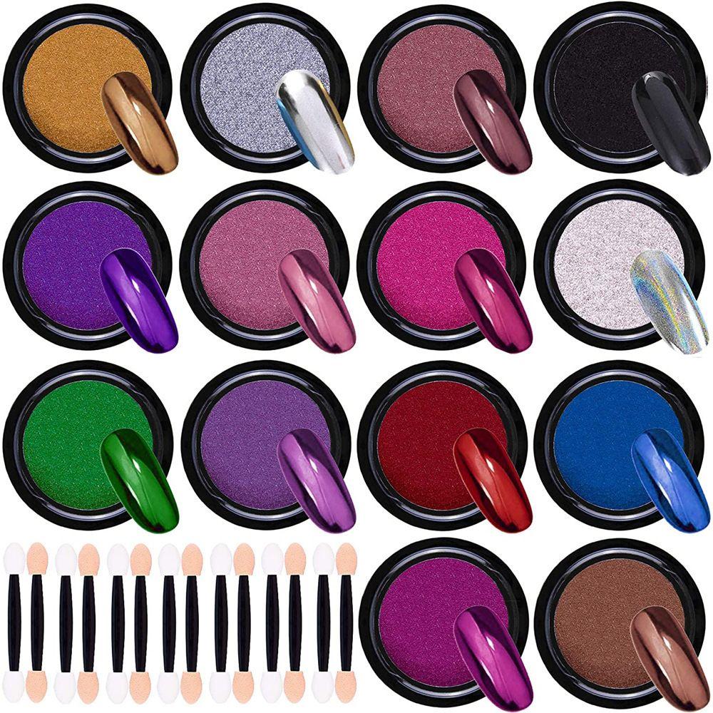 14 Renk Set katılık Titanyum Toz FUll renk Tırnak Toz Glitters Holo Lazer Sihirli Ayna Pigment Krom Toz Manikür Süslemeleri