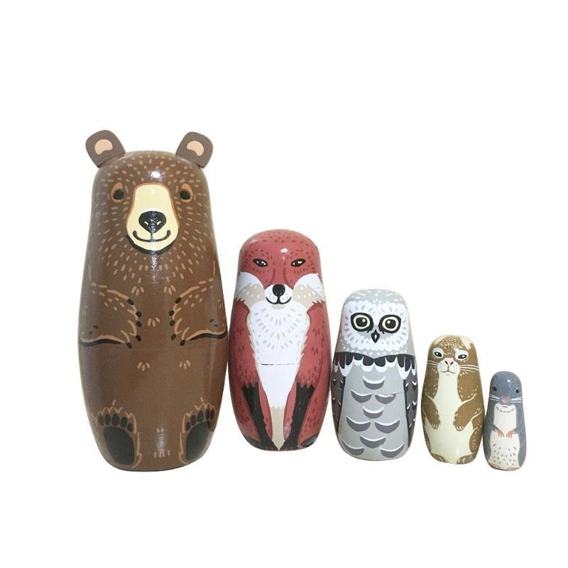 5pcs Bear Ear Nesting Dolls Wooden Russian Matryoshka Dolls Home Decor Toys Baby Basswood Toys Home Decoration Gifts
