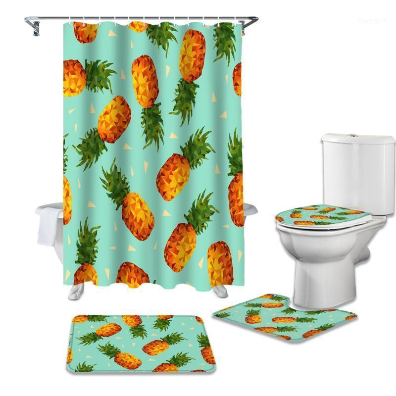 Rideau de douche vert des fruits tropicaux Rideau de douche verte Ensembles de tapis antidérapants couvercles de couvercle de couvercle de toilette et de baignoire Rideaux de salle de bain imperméables1