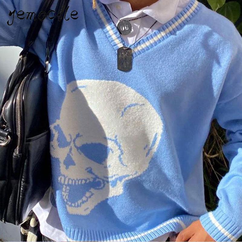 Y2K Kazak Kafatasları Kazaklar V Boyun Triko Gevşek Rahat Örme Kadın Streetwear E-kız Tops Mavi 2020 Sonbahar