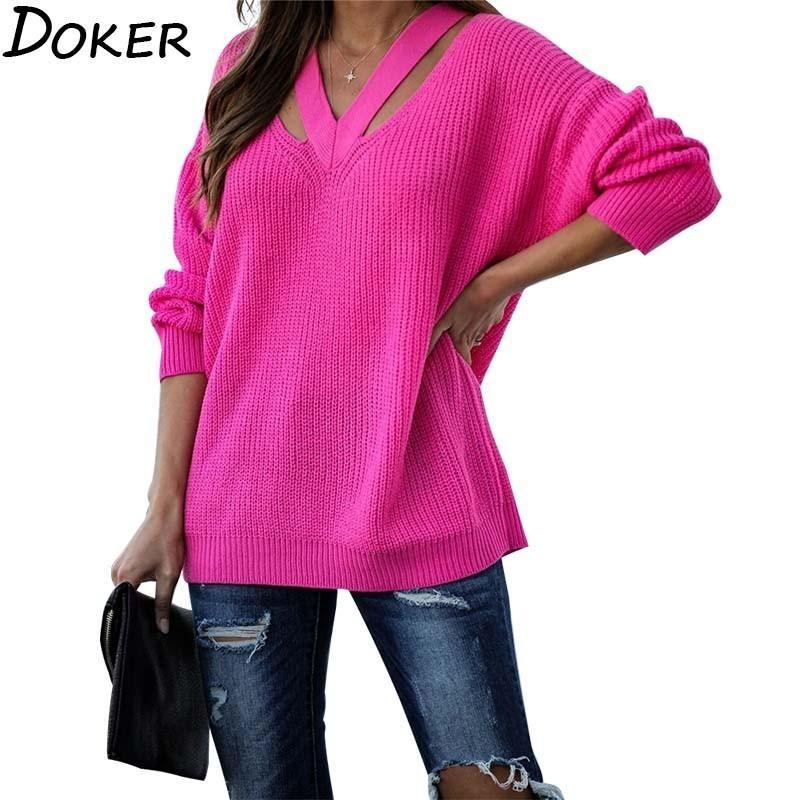 Outono inverno grosso suéteres mulheres moda v-pescoço de manga comprida plus size solto quente pulôver vintage jumper de malha camisola femme 201031