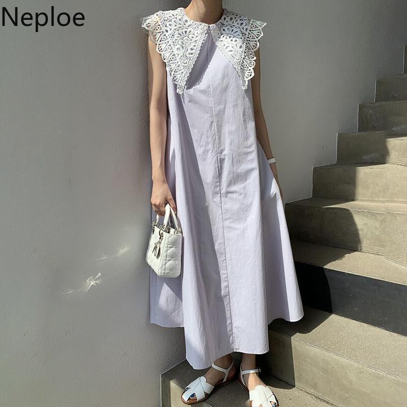 Neploe 2020 Sommer-beiläufigen Normallack-Kleid-Retro- hohler Spitze-großer Revers lost über das Knie Ärmel Kleider Femme 1F316