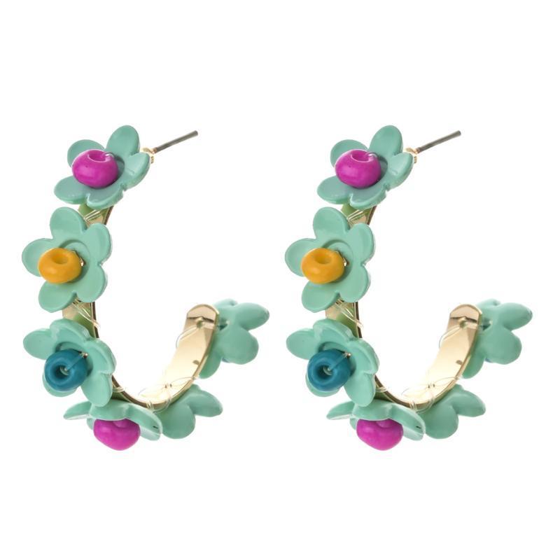 Hoop Hubgie этнические серьги ручной работы ювелирные изделия для женщин Винтаж радуга цветочные серьги женское ухо богемное заявление