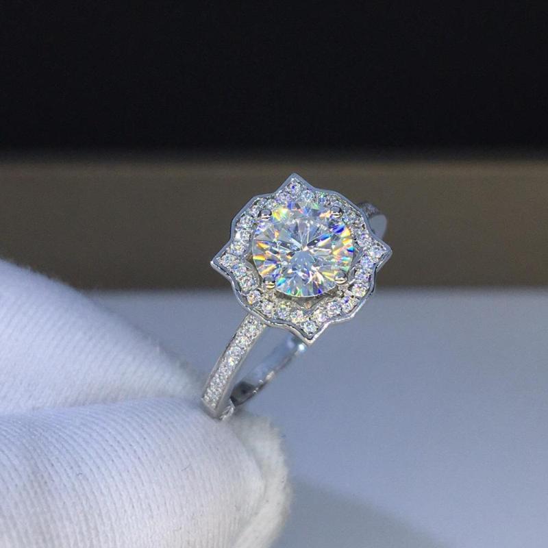 Küme Yüzükler Çiçek 2CT Lab Diamond Promise Yüzük Kadınlar Için 925 Ayar Gümüş Nişan Düğün Band Gelin Güzel Takı Parti Hediye