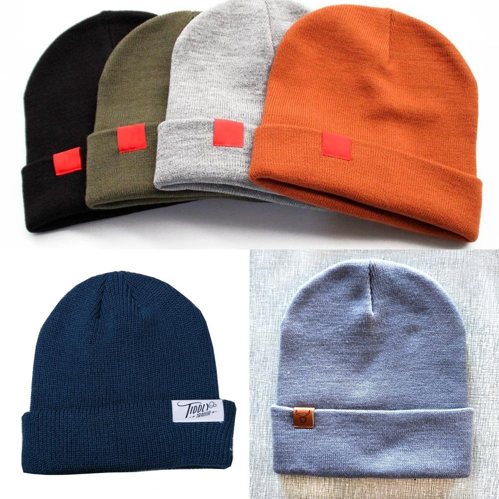 Acrylic 100% Custom Adults Plain Toque Knitted Woven Label Beanie ROEI