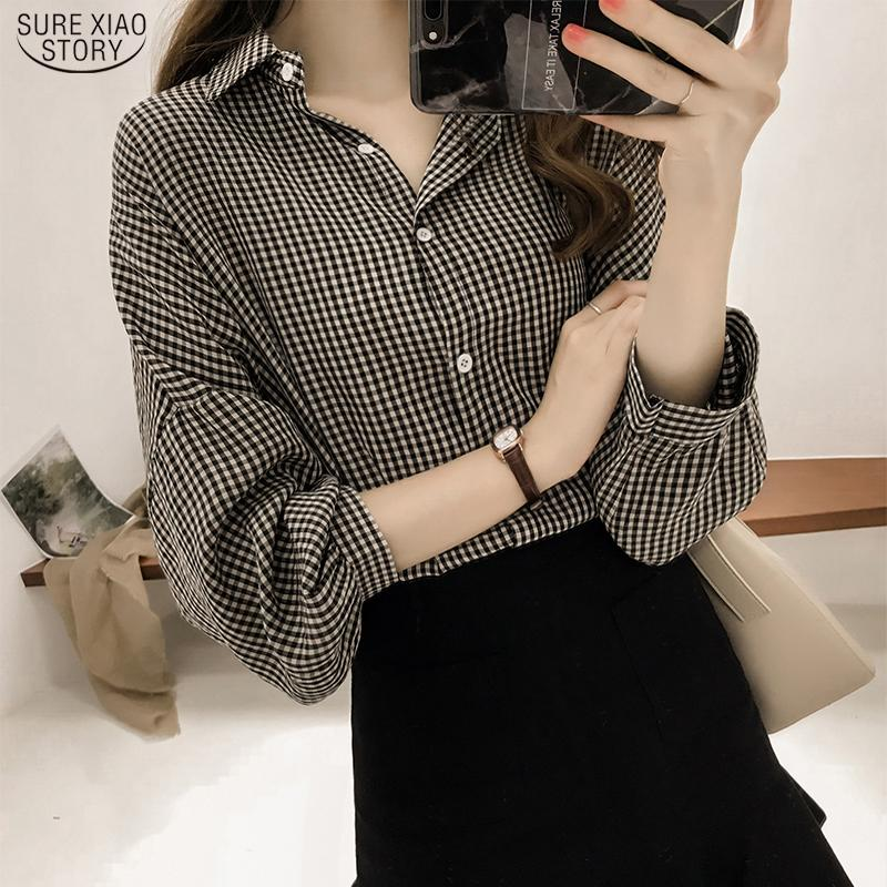 Kore Puff Kol Kadınlar Tops ve Bluz 2020 İlkbahar Ekose Gömlek Kadınlar Plus Size Ofis Lady Bluz 4XL Giyim blusas 8809 50 A1112
