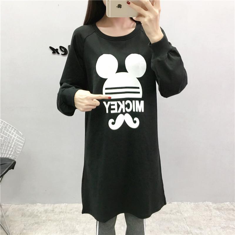 Casual cuello del barco de la manga otoño vestido de la historieta de la camiseta larga Negro tamaño extra grande de las ropas de maternidad