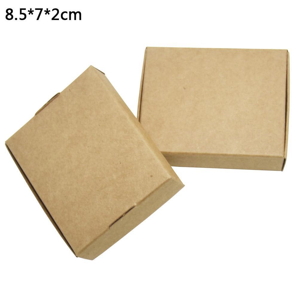 50pcs / lot 8.5 * 7 * 2cm carré blanc Kraft papier d'emballage Boîte carton savon à la main boîte d'emballage de l'emballage cadeau boîtes pour le mariage de Noël