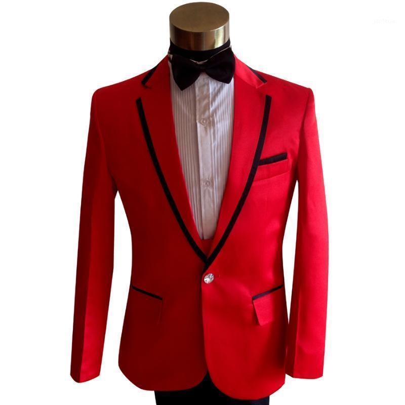 2020 Nova Chegada Terno de Casamento Vermelho para Homens Noivo do Noivo Plus Tamanho Homens Casual Slim Um Botão Terno (Casaco + Calças + Bowtie) 1