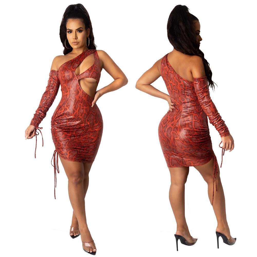 جلد الثعبان نمط إمرأة مثير فساتين الصيف الجوف خارج ضمادة سليم كم طويل عارضة مصمم ملابس النساء