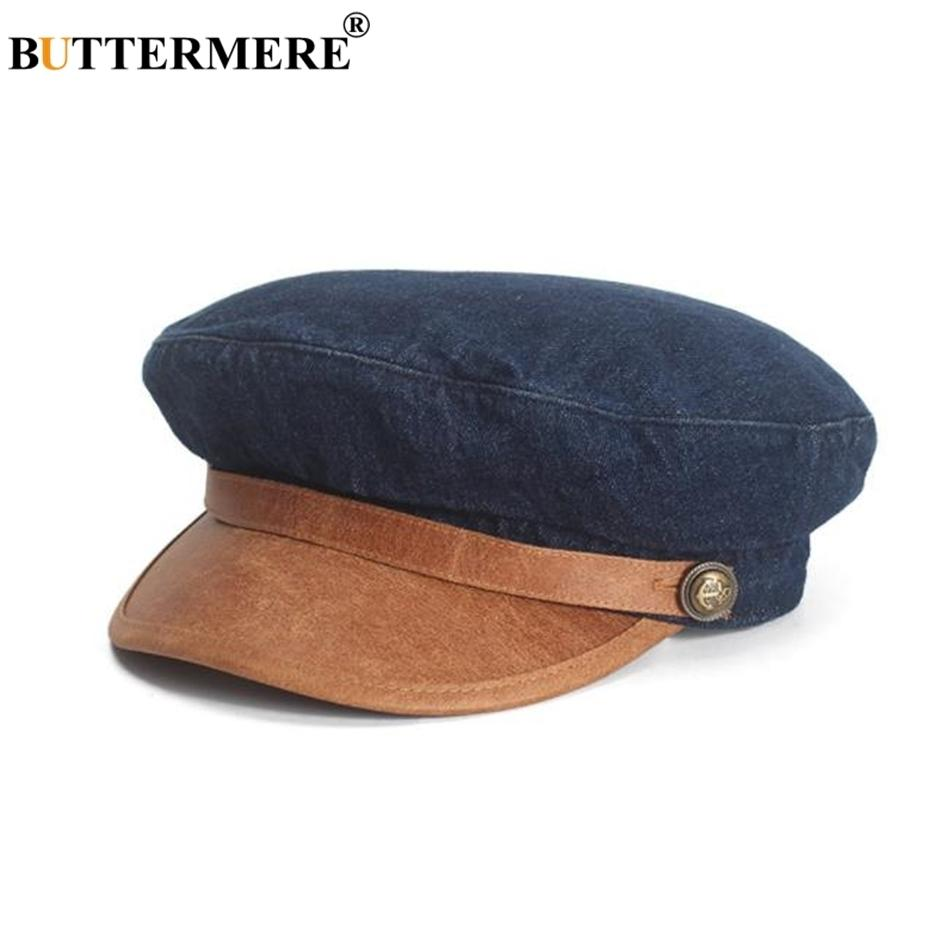 Buttermere Denim Leder Patchwork Newsboy Cap Frauen Flache Mütze Retro Blau Beiläufige Barett Spring Marke Damen Baker Boy Hat 201204