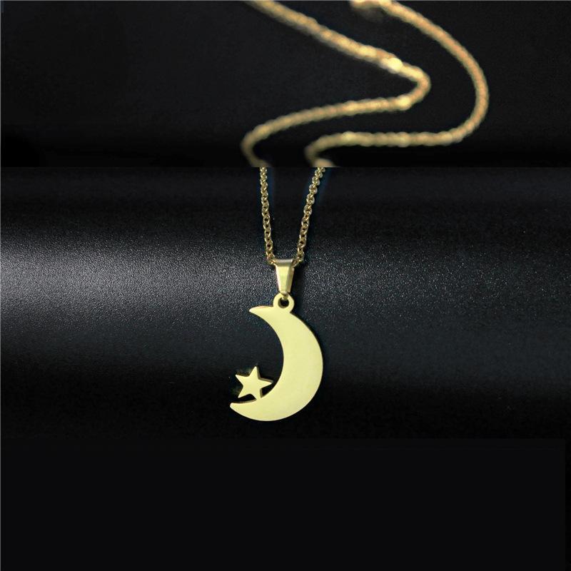 Collana per donna in acciaio inox in acciaio inox e argento color argento luna stella pendente collana gioielli di fidanzamento