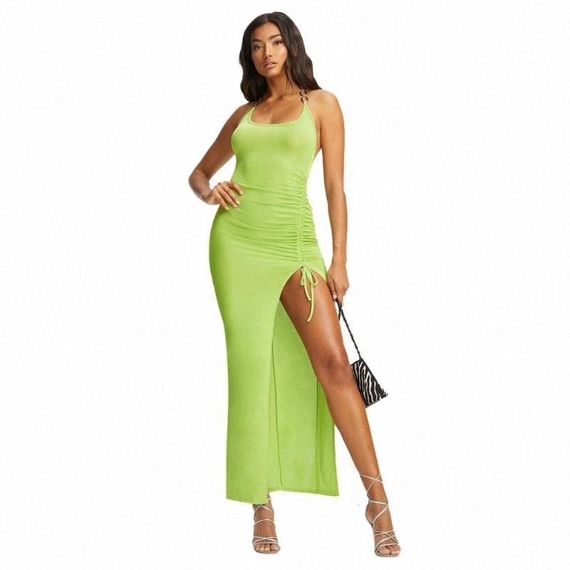 Femmes Neon Green Sexy Summer Club Bodycon Robes mode chaîne en métal Halter Backless Femme longue de Split Haut Robes longues Sundresses XrSq #