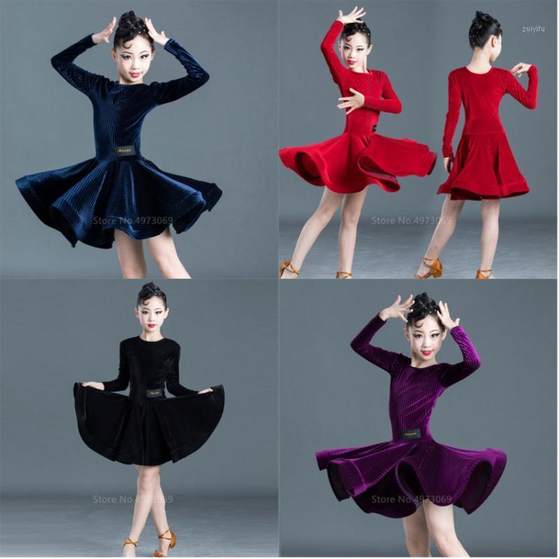 Sahne Giyim Latin Dans Elbise Tam Kollu Kadife Etekler Kızlar Çocuklar için Kostüm Sonbahar Kış Balo Salonu Tango Salsa Vestidos Kadınlar Aşama1