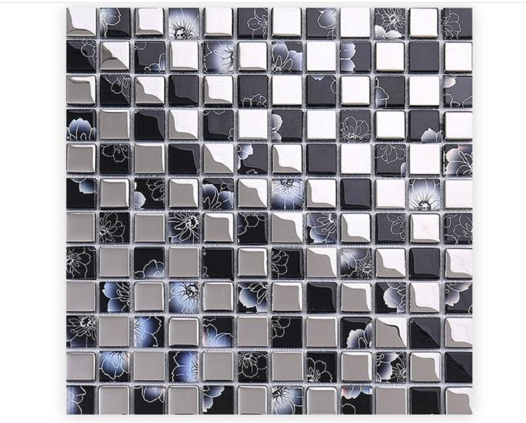 2021 горячей продажи Европейская атмосфера из нержавеющей стали Стеклянная мозаика отеля дома мозаика телевизор фоне настенной плитки