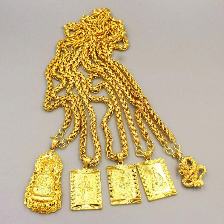 Cadenas largas exageradas 24k Collar de oro de oro para hombres Joyas Big Gold Collar Buddha Chinese Dragon Totem Collar para Hombres Y1220