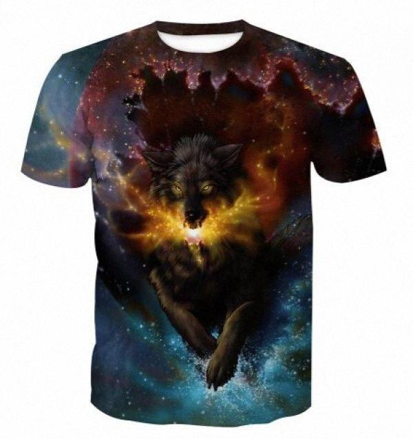 Moda casual para hombre animal de impresión digital camisetas verano Tees Los machos tigre del lobo de la corto manga del cuello del equipo de las camisetas para hombre Tops Plus tubN #