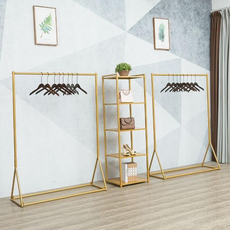 Loja de roupas de ferro Exibir prateleira de estanque de ouro Rack de ouro decoração simples vestuário feminino loja saco prateleira pendurado
