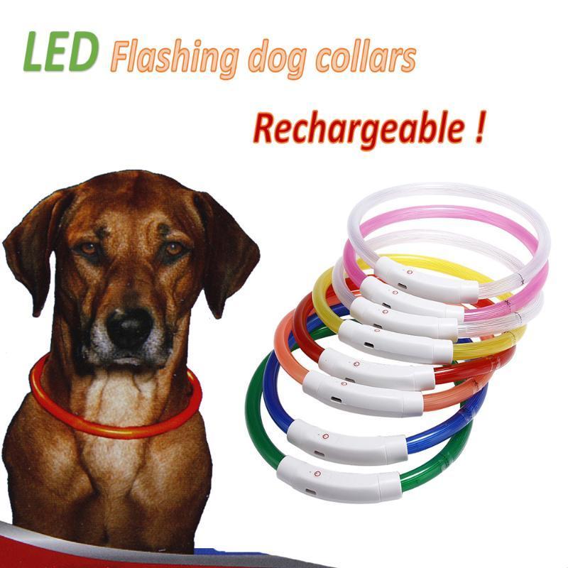 LED Pet Lampeggiante Lampeggiante Light USB Portacollo ricaricabile anello collo luminoso Collo di sicurezza Collo di sicurezza Piccoli e medie dimensioni di grandi dimensioni