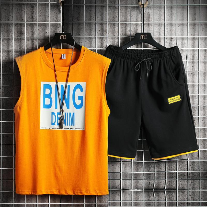 FMZXG 2020 Spor Casual erkek Yaz Yeni Yuvarlak Boyun Kolsuz Yelek Şort İki Parçalı Suit Sporswear