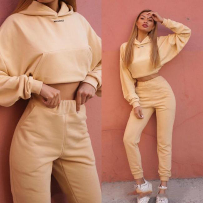 Womens Tracksuits Womens Long Sleeve Casual Suits Solid Color Sports Two-piece Suit 2020FW Short Pullovers + Pants 2020 New Wholesale