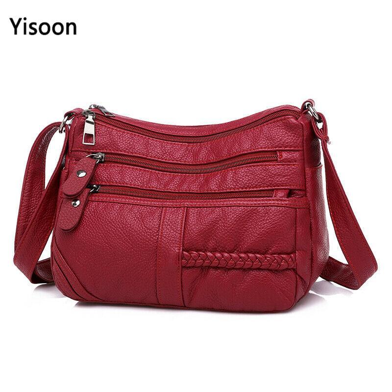 Bolsos de hombro de cuero suave de alta calidad para mujer Multi-capa Classic Bolsa de Crossbody Bolso de diseño de lujo y bolso