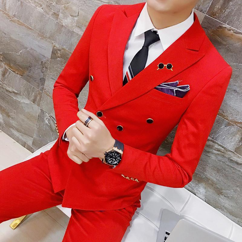 ( Jackets + Pants ) Solid Color Double Breasted Suit Groom Wedding Suits Men Dress Suit Dinner Party Prom Suit Formal Business C1007