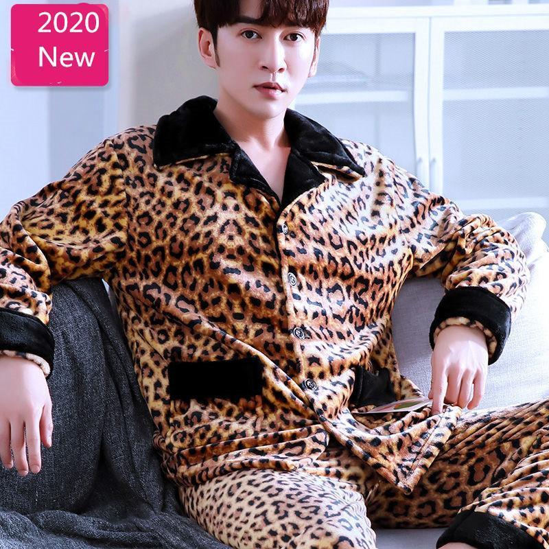 Herren Flanell-Pyjamas Hot Warm Leopard Sexy Nachtwäsche Set Top Man dicken Winter Pyjama Set 2Piece / Anzug Long Shirt Hosen Homewear