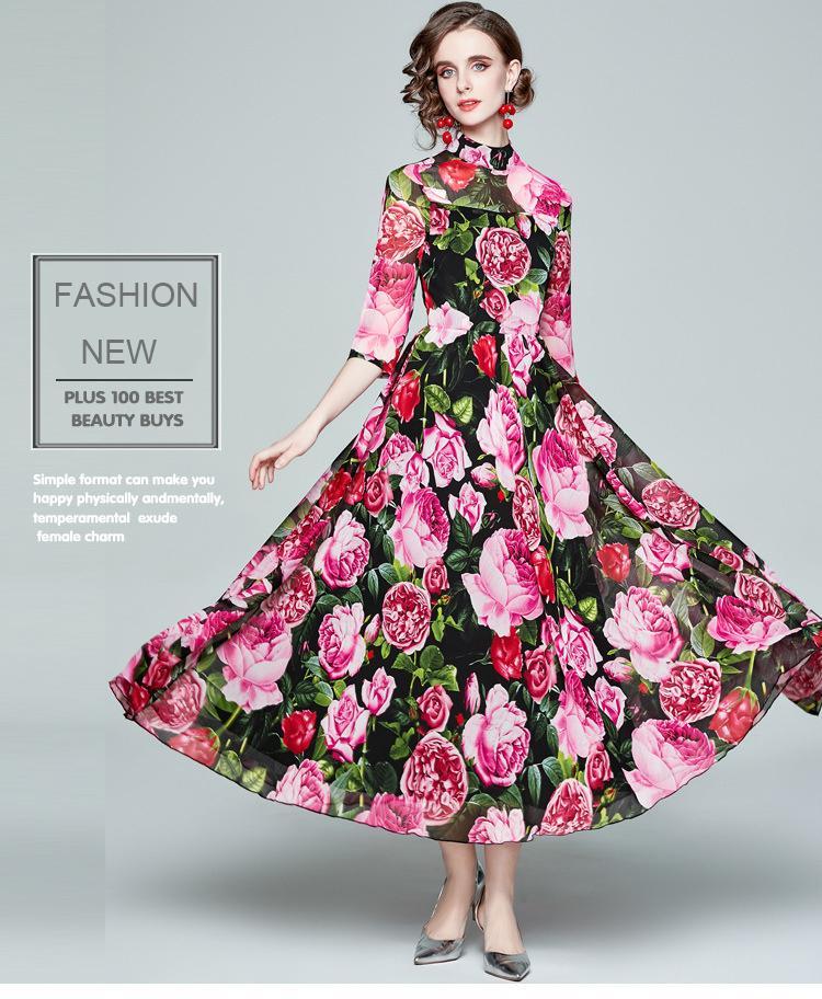 Robe d'impression florale à la mode 2021 robe de mousseline de femme 3/4 manches longues manches longues robes sweing de nuque