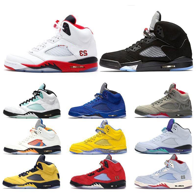 Новый Огонь красный 5 Мужские Баскетбольные Обувь 5S OG Металлическая Черная Синяя Замша Борд Белый Цемент Мужские Тренеры Кроссовки Спорт Размер 40-47