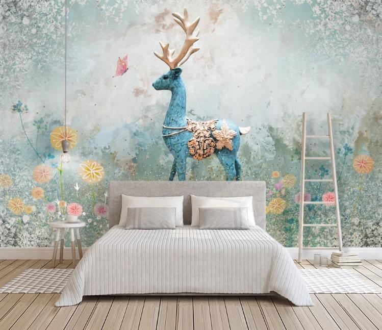 De Foto 3D Wallpaper nórdica Elk pintura decorativa estéreo retro sala de estar dormitorio del arte abstracto de pared