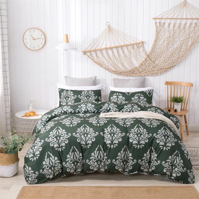 Kuhio conjuntos de cama de impressão Cobertura de colcha conjunto Home Consolador cama Duveta Têxtil King Bedclothes Almofada Rainha Caso