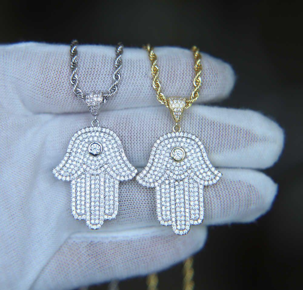 Мальчик прохладный хип хмель ювелирные изделия малыша мужская HAMSA рука кулон золото посеребренные CZ кубический цирконий Bling Hiphop ожерелье для мужчин