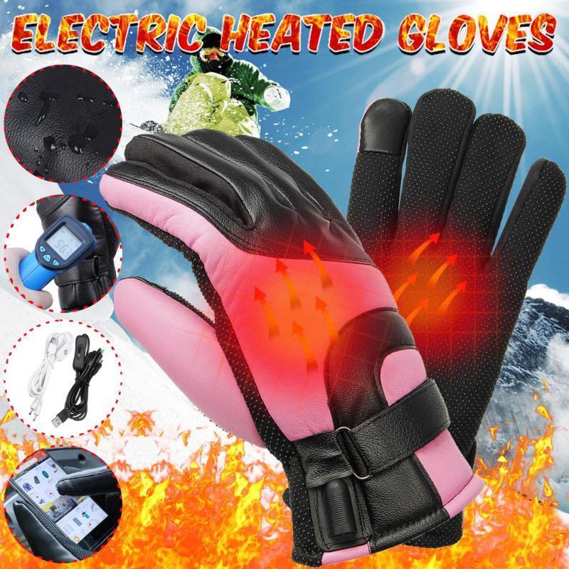 1 Paar Winter-USB-Handwärmer Elektro-Thermal-Handschuhe Wasserdicht Beheizte Handschuhe Batteriebetriebene für Motorrad Ski