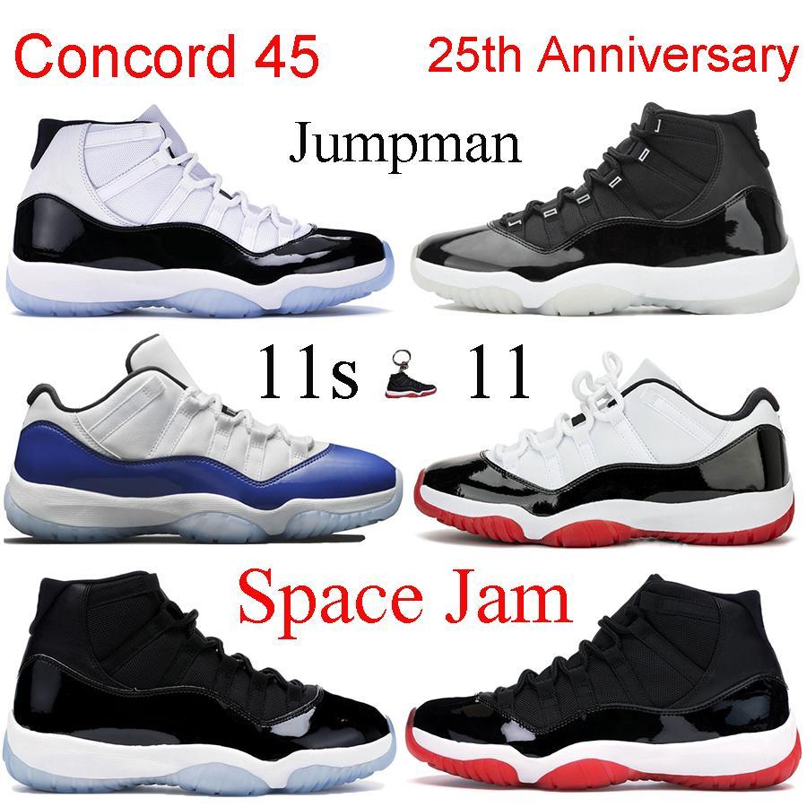 11s jumpman Mens Basketball Concord 45 Platinum Tinte baja Armada de medianoche Diseñador Bred las zapatillas de deporte de calidad superior 11 vestido Trainer