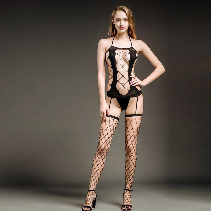 여성 섹시한 네이 라인 양면 메쉬가있는 섹시한 란제리 Hollowed Suspender 양말 투명한 검은 색 훑어보기 Stockings Jumpsuit NY47