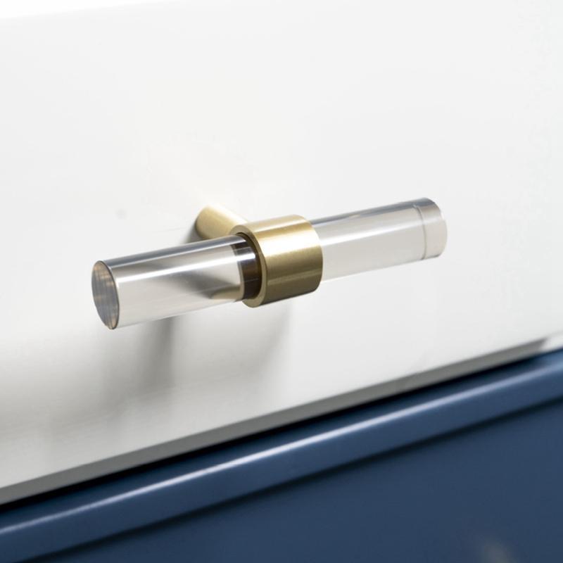 Moderno latón cocina gabinete perillas tiras de vidrio acrílico mirada cajón tocador perillas de muebles armario armarios puertas tirones asas