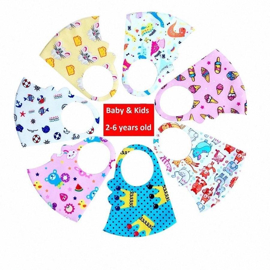 Baby Kinder Waschbar HLZY # wiederverwendbare Maske Unisex Maske Silk Tierbreath Cartoon Mund nette Abdeckung Eis DDA335 Gesicht Baby Kinder Waschbar H Ogkk