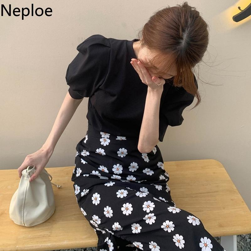 Neploe Knitted T Shirts Women Solid French O Neck Puff Sleeve Female Tops Summer New Casual Slim Fit Ladies Tees 1D232 200925