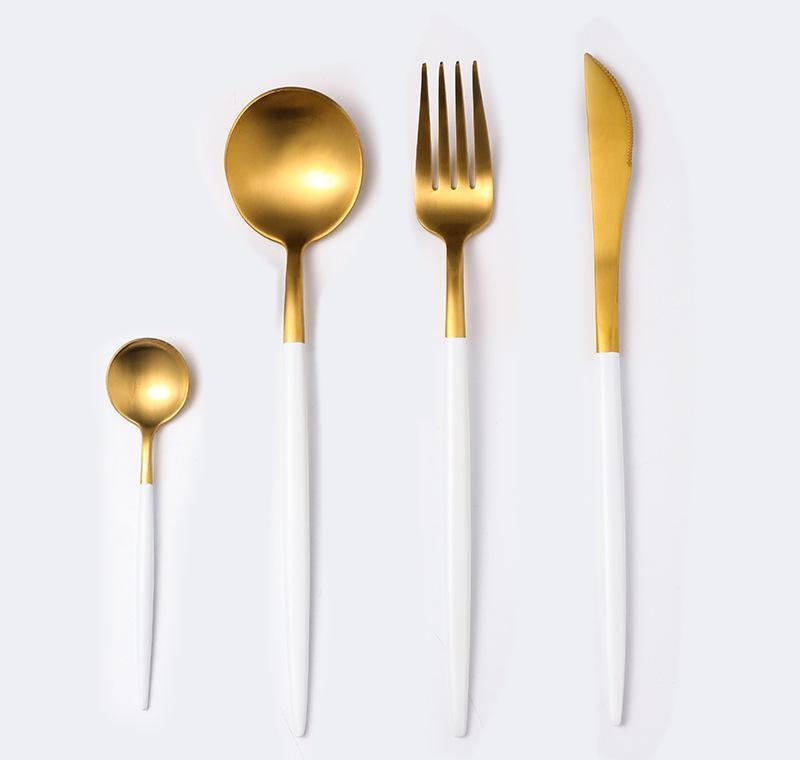 Limite de haute qualité Rouge Rouge Gold Noir Vaisselle Couverts Ensemble En Acier Inoxydable Couteau Fourchette et cuillère Ensemble Golden Color Couteau Fourchette et cuillère JLLHJ