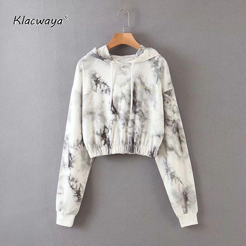 Klacwaya donna vintage inchiostro pittura primavera-autunno joggers con cappuccio street-wear ladies giacche chic ragazze oversize casual top T200904