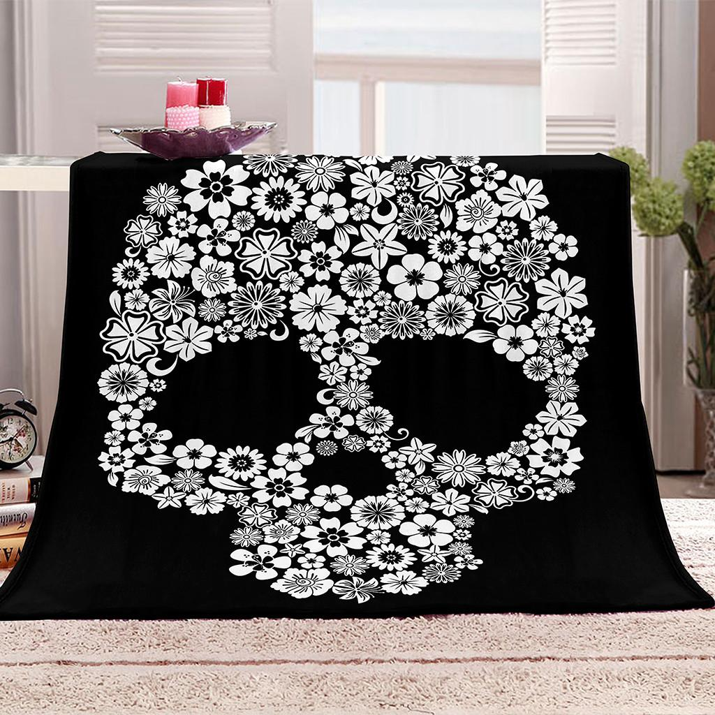 Skull Onglyp Flower Cozy Plush Halloween Decor Throw for Bed Couch Sofa Travel Tv Soft Warm Blanket Bedspread ZJW8