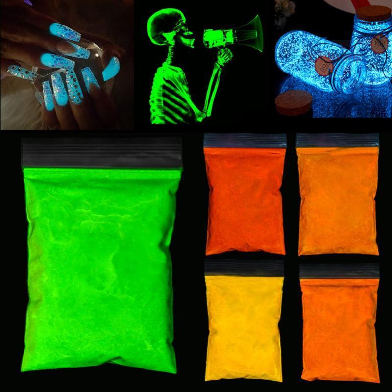 5 Farben Fluoreszierende Nagel-Funkeln-Puder Hell Pigment DIY Halloween glühender Nagel Glitter Lack Staub für Nagel-Kunst-Dekorationen