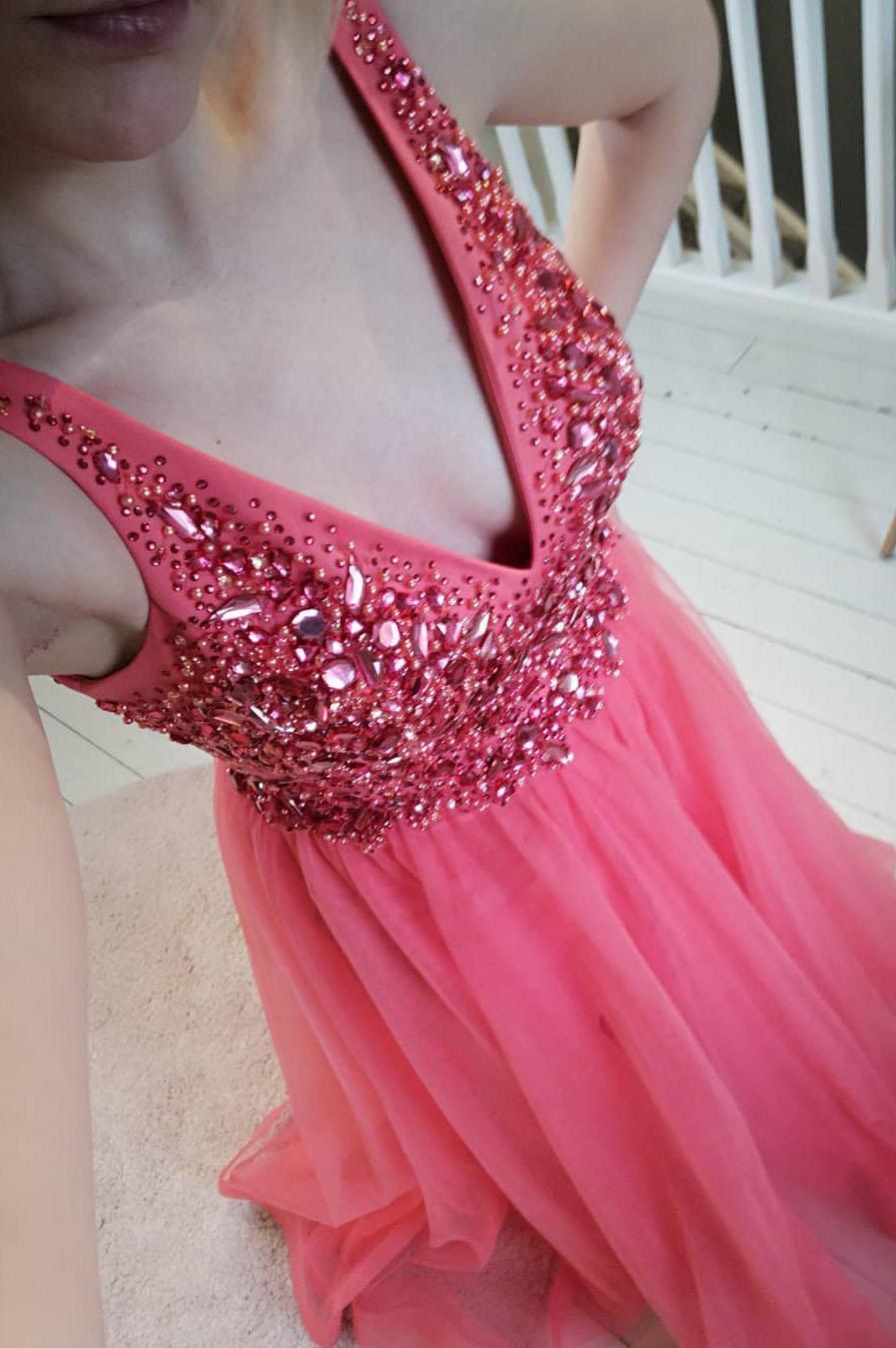 Fashion Prom Dresses Beads Tops Tulle Evening Dress V Neck A-lin Vestidos De Festa Custom Made Formal Party Second Reception Gowns