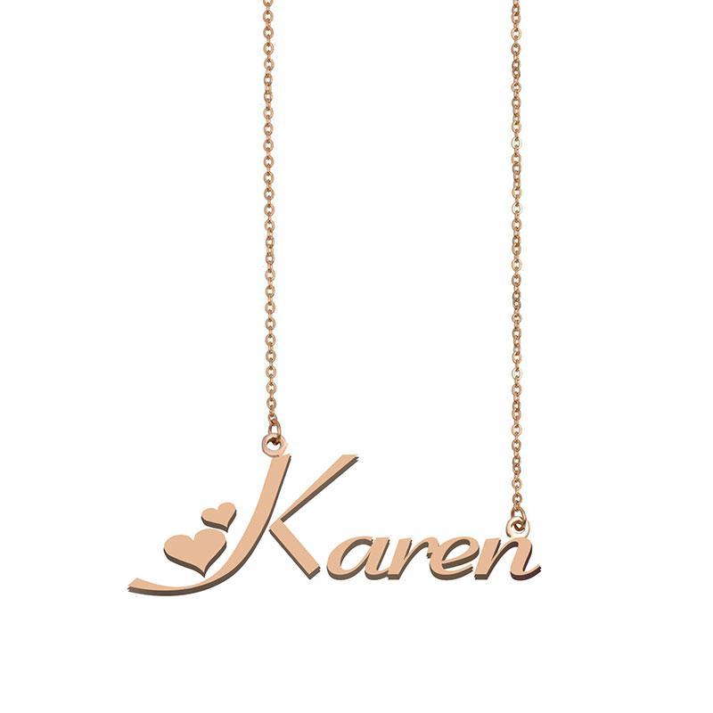 Karen Namensketten Anhänger Gewohnheit personifizierte für Frauen Mädchen Kinder beste Freunde Mütter Geschenke 18k vergoldet Edelstahl