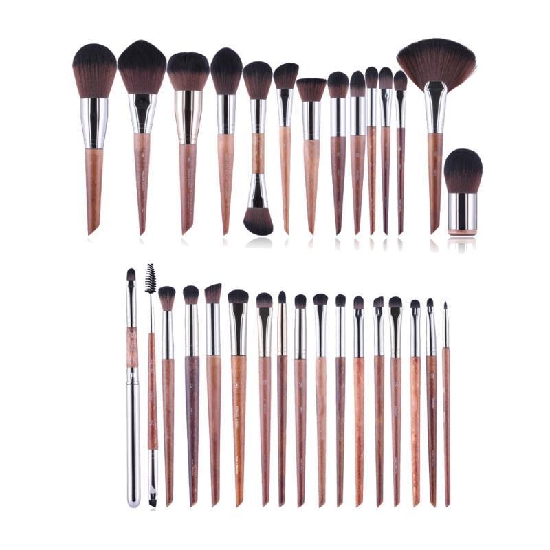 MUFE-SERİSİ 38-Fırçalar Komple Fırça Seti - Ahşap Sap Yumuşak Sentetik Saç Profesyonel Güzellik Makyaj Fırçalar Seti Araçları