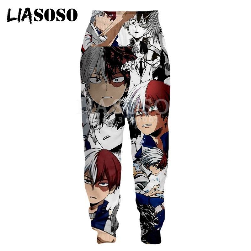 Liasoso 3D print imprimé unisexe pantalons de survêtement anime bandes dessinées Todoroki Shouto Fun Drôle Sweat Pantalon Jogging Cool Pantalant X2792 201128