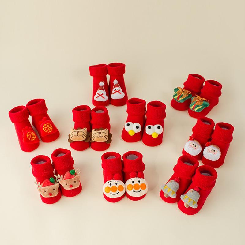 Noel Güzel Kaymaz Oda Çorap Karikatür Bebek Bebek Tarama Toddler Ayakkabı Çorap Kış Bebek Kalınlaşmış Kırmızı Zemin Çorap Vtky2076